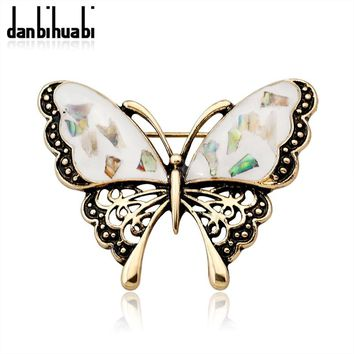 Fashion abalone shell butterfly brooch gold / silver insects brooch pin denim jacket for women party banquet jewelry accessories