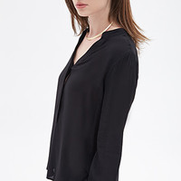 FOREVER 21 Buttoned Collarless Blouse
