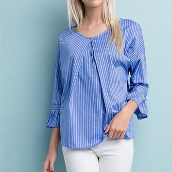 Denim Blue Striped Ruffle Sleeve Woven Top