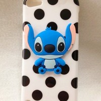 3D Blue Stitch & Lilo Polka Dot TPU Color Wave point Gel Silicone Rubber Skin Case Cover for IPOD TOUCH 5 5G 5TH GEN touch5 touch 5 white