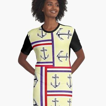"""Nautical"" A-Line Dress by red-unicorn-art 