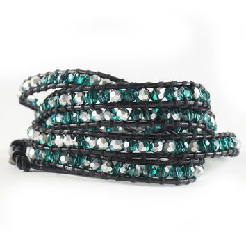 SALE OCT ONLY 5 Wrap Beaded Wrap Bracelet Emerald Green Silver Beads Genuine Leather Wrap Bracelet
