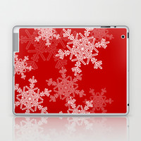 Red snowflakes Laptop & iPad Skin by Silvianna