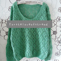 Mint Green Knit Sweater by For the Love of Thread