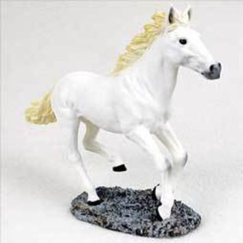 WHITE HORSE RUNNING FIGURINE