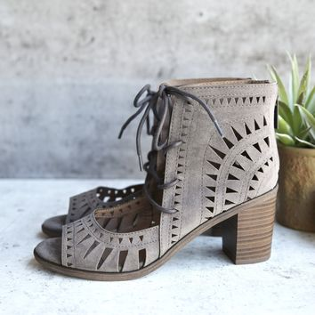 'leilani' vegan suede cutout lace up chunky mule heel - more colors