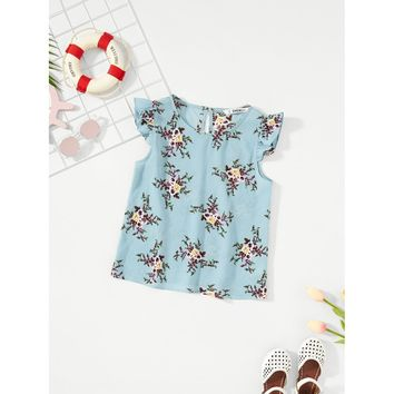 Girls Ruffle Armhole Sleeveless Floral Blouse