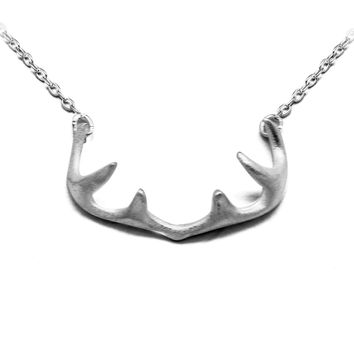 Fashionable Simple Antlers Drawing 925 Sterling Silver Necklace