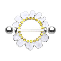 Set of White Daisy Nipple Shield Ring Body Jewelry Nipple Rings 14ga Surgical Steel