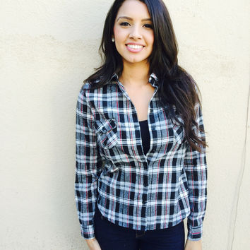 Draya Plaid top- Black