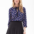 FOREVER 21 Spotted Floral Blouse Navy/Purple