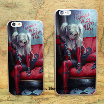 Batman Harley Quinn blood blonde sexy Pattern hard transparent clear Cover Case for iPhone 4 4s 5 5s 5c 6 6 Plus