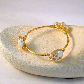 GOLD ESSENCE - This is My Sand Piper Pearl Golden Wire  Bangle Bracelet. Made with Golden Essence of Color in the Lampwork Bead n Pearls!