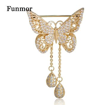 Top Quality Cubic Zirconia Butterfly Brooch For Women Gold Color What Drop Tassel Classic Wedding Decoration Animal Corsage Pins