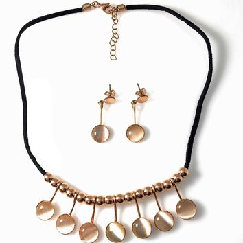 """Necklace Stainless Steel Rose Gold Tone 16"""" with Matching Earrings"""