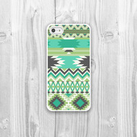 Aztec iPhone Case - iPhone 4, iPhone 4s, iPhone 5 cover - Green Aztec Geometric Protective Cell Phone Case