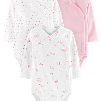 3-Pack Certified Organic Side-Snap Bodysuits