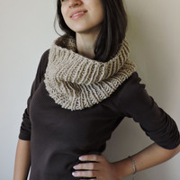 FREE SHIPPING Knit wool infinity scarf Beige scarf Cowl Circle warm scarf Bulky and soft Eternity brown scarf