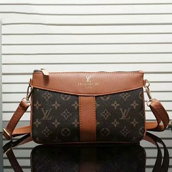 LV Louis Vuitton Trending Women Stylish Leather Crossbody Satchel Shoulder Bag Brown I-LLBPFSH