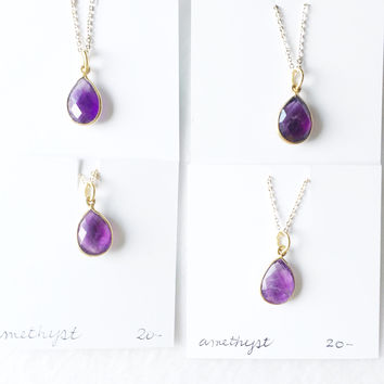Amethyst framed gold drops - trunk show