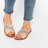 ASOS FEMI Leather Embellished Slider Sandals at asos.com