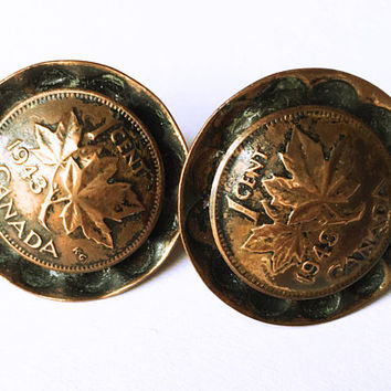 1 Cent Canada Copper - 1943 Coin Earrings - Copper Earrings - Maple Leaf Earrings - Canadian Penny Earrings - Vintage Copper Earrings