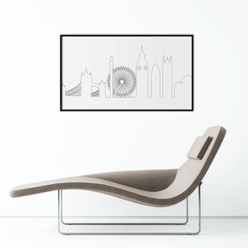 London Skyline hand drawing Print | Wall Art | Minimalist Poster | Printable Art scalable to ALL SIZES