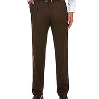 Hart Schaffner Marx Tailored Single-Pleat Pants - Brown