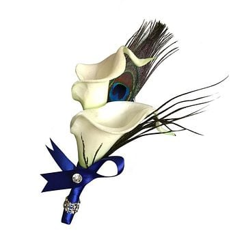 Calla lily Peacock Feather Boutonniere-Natural White calla Lily: Pick Ribbon Color