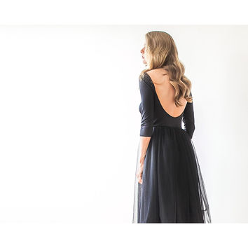 Backless Black Tulle Maxi Dress  1050