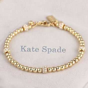 Kate Spade Fashion New More Lucky Beads Diamond Personality Bracelet Women  Golden d932a35d5