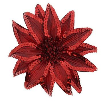 Womens Christmas Pointsettia Sequin Flower Pin Clip Hair Tie