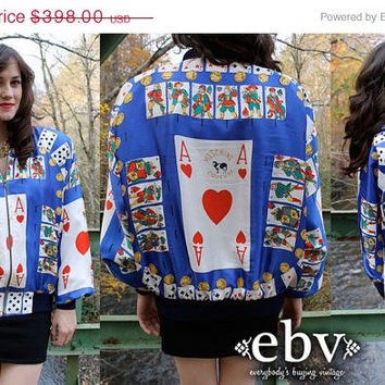ON SALE RARE Vintage 80's Faux Moschino Couture Ace of Hearts Playing Cards Bomber Jacket S M L