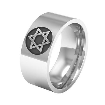 High Quality Stainless Steel Star of David Finger Ring Silver Tone 8MM For Men's Band Wedding Punk Ring Supernature Jewelry Gift