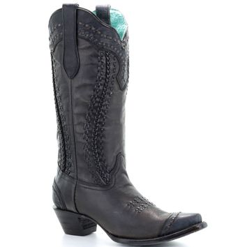 Corral Black Woven & Braided Boots A3324