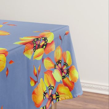 Elegant Orange Flowers - Blue Grey Tablecloth