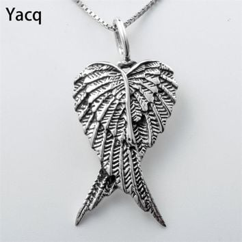 Yacq 925 Sterling Silver Angel Wings Necklace Pendant W Chain Jewelry Birthday Gifts Women Wife Girlfriend Her Girls Biker CN01