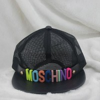 DCCKJ1A Moschino Stylish Unisex Cool Spring Summer Street Snap Badge Gauze Baseball Cap Hip-Hop Hat Peaked Cap