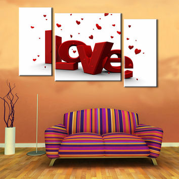 Oil Painting Canvas Print Letter Love Home Decor Art Work on Wall Sweet Gift for Lovers Wedding Decoration Picture 3pcs