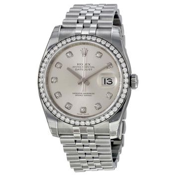 Rolex Datejust  Automatic Silver Dial Diamond Stainless Steel Ladies Watch