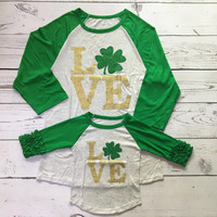 Preorder- Mommy and me LOVE St Patricks Day Raglan