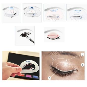 6 style in 1 set Quick Makeup Cat Eyeliner Smokey Eyeshadow Drawing Guide Reusable Stencil for Classic Eye Liner Template
