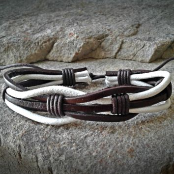 Triple Brown and White Leather Braided Adjustable Unisex Leather Weave Wrap Bracelets
