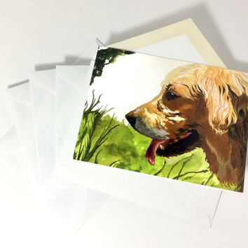 Pack of 5 Watercolor Golden Retriever Stationery, Painted Dog Themed Cards With Envelopes, Five Pack Beautiful Dog Painting Note Cards 4x6""