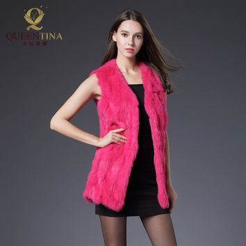 Winter Autumn Rabbit Fur Vest Fashion Real Fur Coats for Women Female Natural Full Pelt Fur Vests Outwear High Quality Fur Vest