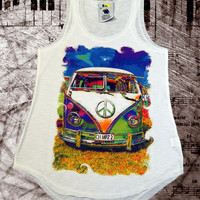 Volkswagen Camper Van, cool designer fashion vest, ladies summer tank top, one size