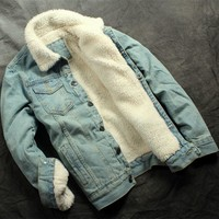 Men's Fashion Fleece Denim Jacket