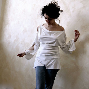 Tunic top, White top, Jersey top, Women Blouse, Long sleeve shirt, Open sleeve top, Womens shirt, Boat neck top, Plus size clothing, Petite