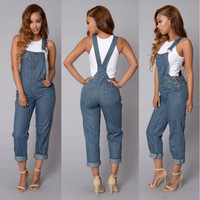 Blue Denim Overalls Jumpsuit