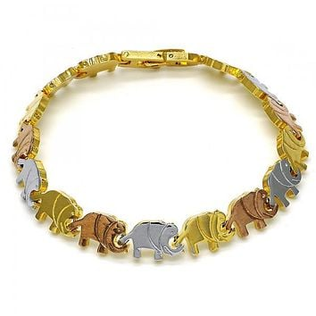 Gold Layered 03.102.0022.08 Solid Bracelet, Elephant Design, Polished Finish, Tri Tone